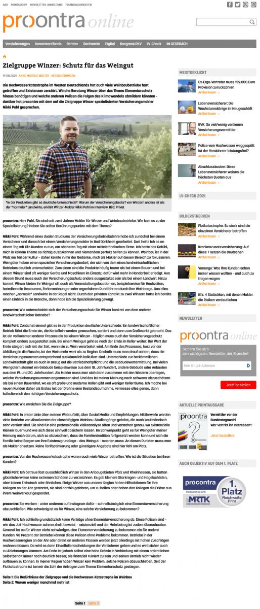 Interview Procontra 08-2021 Seite 1
